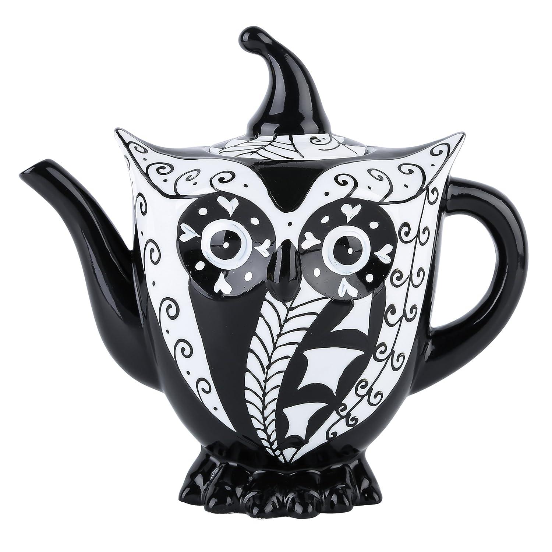 Artvigor, Porzellan Kaffeekanne, 1,2 Liter, Groß Teekanne, Handbemalt, Eule Tierfigur Deko Groß Teekanne