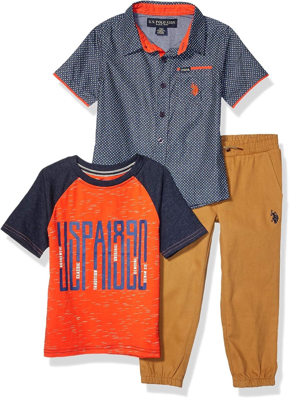Boys Short Sleeve Printed Woven T-Shirt and Jogger Set U.S Polo Assn