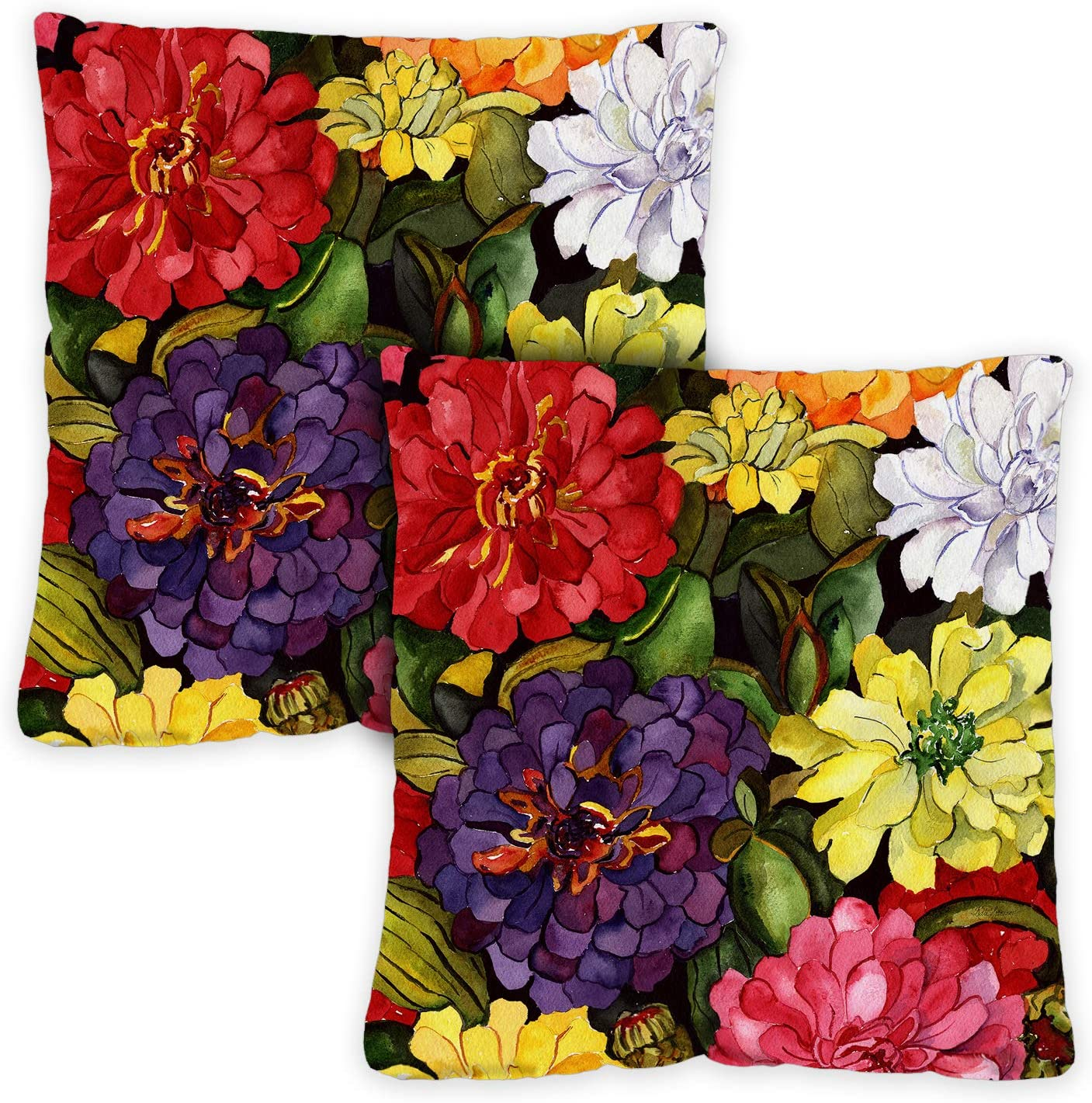 Toland Home Garden 721214 Zippy Zinnias 18 x 18 Inch Indoor Outdoor, Pillow, Insert 2-Pack