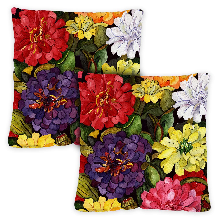 Toland Home Garden 721214 Zippy Zinnias 2-Pack 18 x 18 Inch, Indoor/Outdoor, Pillow with Insert