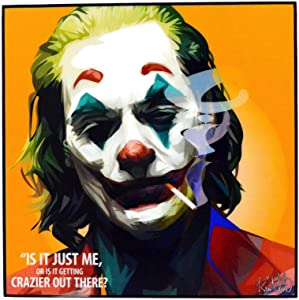 "Pop Art Fanart Poster Movie Film Quotes [JOKER - Joaquin Phoenix] DC Villain Framed Acrylic Canvas Poster Prints Modern Wall Decor, 10""x10"""