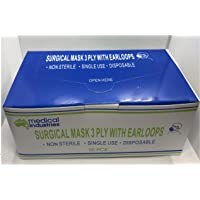 New 50pcs 3Ply Face Mask, Surgical Disposable, Latex Free, Ear Loop, Blue, Filter, Filtration, Anti Fog Dust