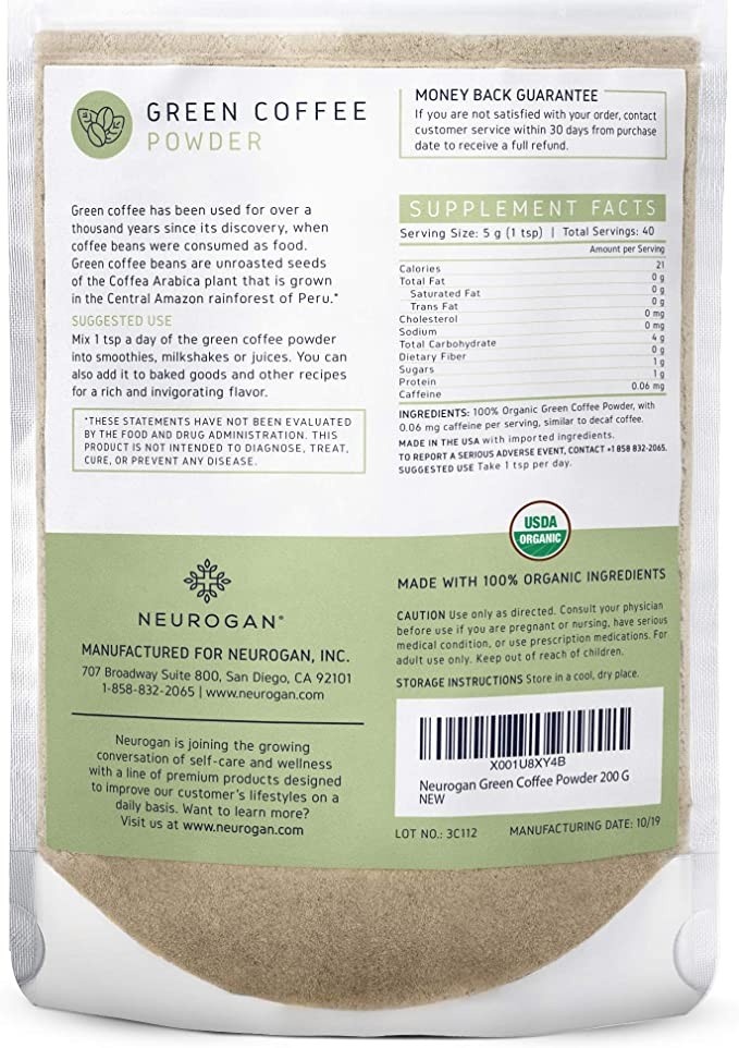 Amazon Com Neurogan Organic Green Coffee Bean Powder Extract With