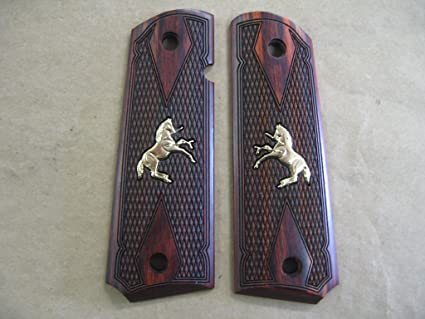Colt 1911 Double Diamond Rosewood Checkered Grips With Gold Inlay Horse Pony