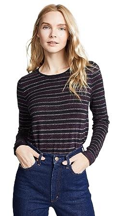 e98b03e8cc6dd0 Bop Basics Women's Metallic Stripe Pullover, Purple/Silver/Navy, X-Small