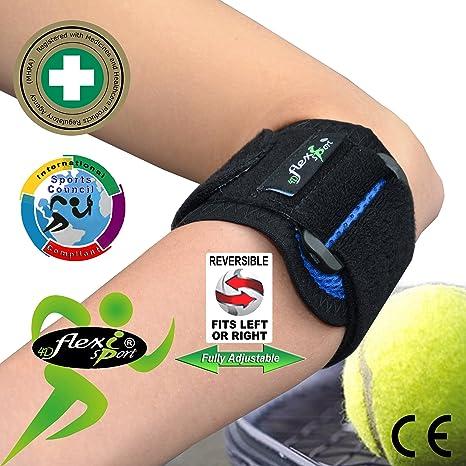 Codera CODO DE TENISTA-GOLFISTA /Tennis elbow (AZUL) - Tratamiento de epicondilitis. Llevado en Wimbledon. ANTI-SUDOR, HIPOALERGÉNICO (sin ...