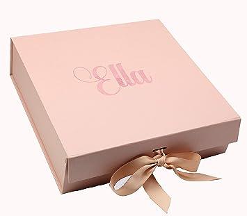 Caja de regalo personalizada de oro rosa con cualquier nombre, caja de regalo Large Text - Silver: Amazon.es: Hogar