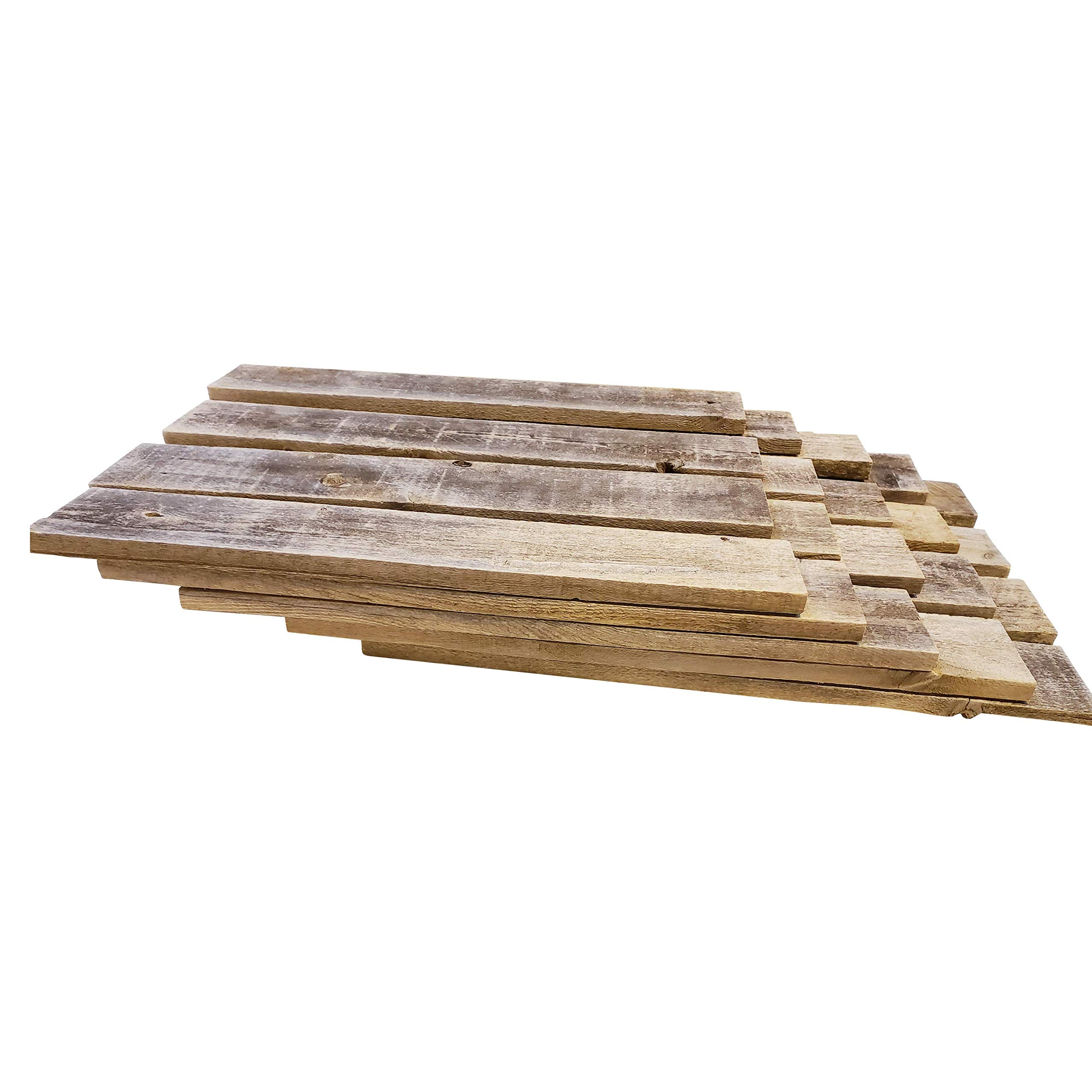 Rockin' Wood Rustic Weathered Reclaimed Wood Planks for DIY Crafts, Projects and Decor (20 Planks - 24'' Long, Rustic Grey)