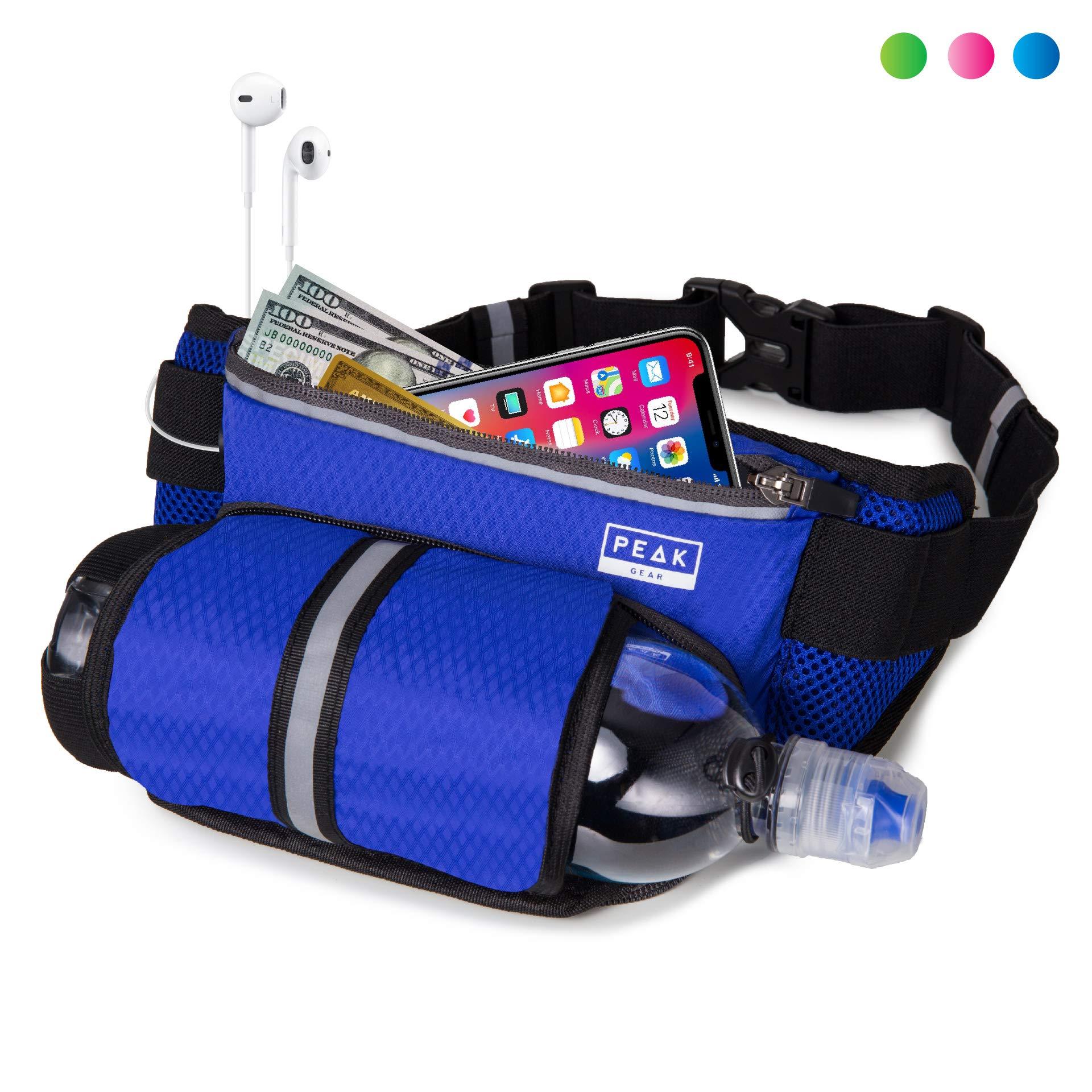 Peak Gear Waist Pack and Water Bottle Belt - New Larger Size - Hydration Fanny Pack for Jogging, Walking or Hiking (Blue) by Peak Gear