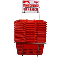 Shopping Basket Durable Blue Plastic with Metal Handles Set of 5