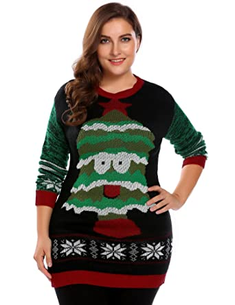 2b8617a2b4c Zeagoo Plus Size Womens Christmas Reindeer Sweater Dress Ugly ...