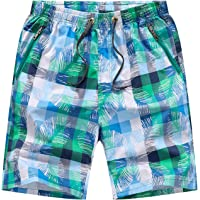 KINHUYO Mens Beach Shorts Zip Pockets Boardshorts Hawaii 100% Cotton Elasticated Waist Lightweight Beachshorts