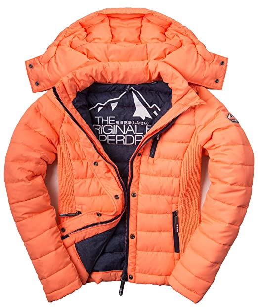 Perfect Superdry Hooded Box Quilt Fuji Jacket Acid Coral