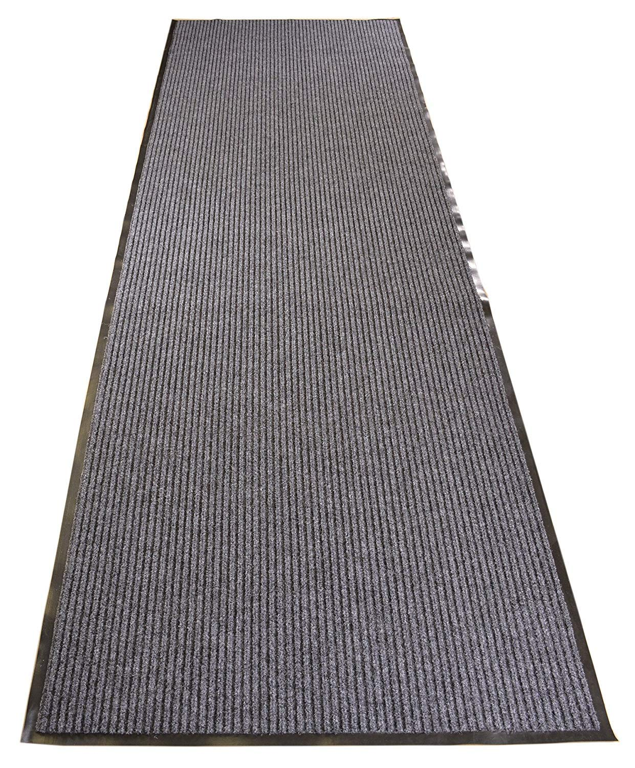 RugStylesOnline Tough Entry Mat Indoor Outdoor Entrance Mat and Hallway Runner Tough Entry Collection Slip Skid Resistant PVC Backing Anti Bacterial Commercial Grade (Grey, 3' x 12')