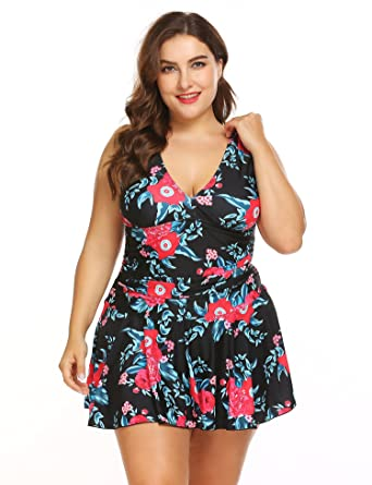 Blenko Plus Size Women Flower Printing One Piece Swim Dresses