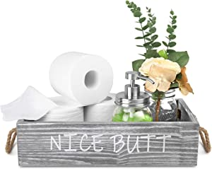 HOMKO Nice Butt Bathroom Decor Box with Two Mason Jars and Artificial Flower Wooden Bathroom Box for Toilet Paper Storage, Bathroom Accessory and Organizer (Rustic Grey, Large)