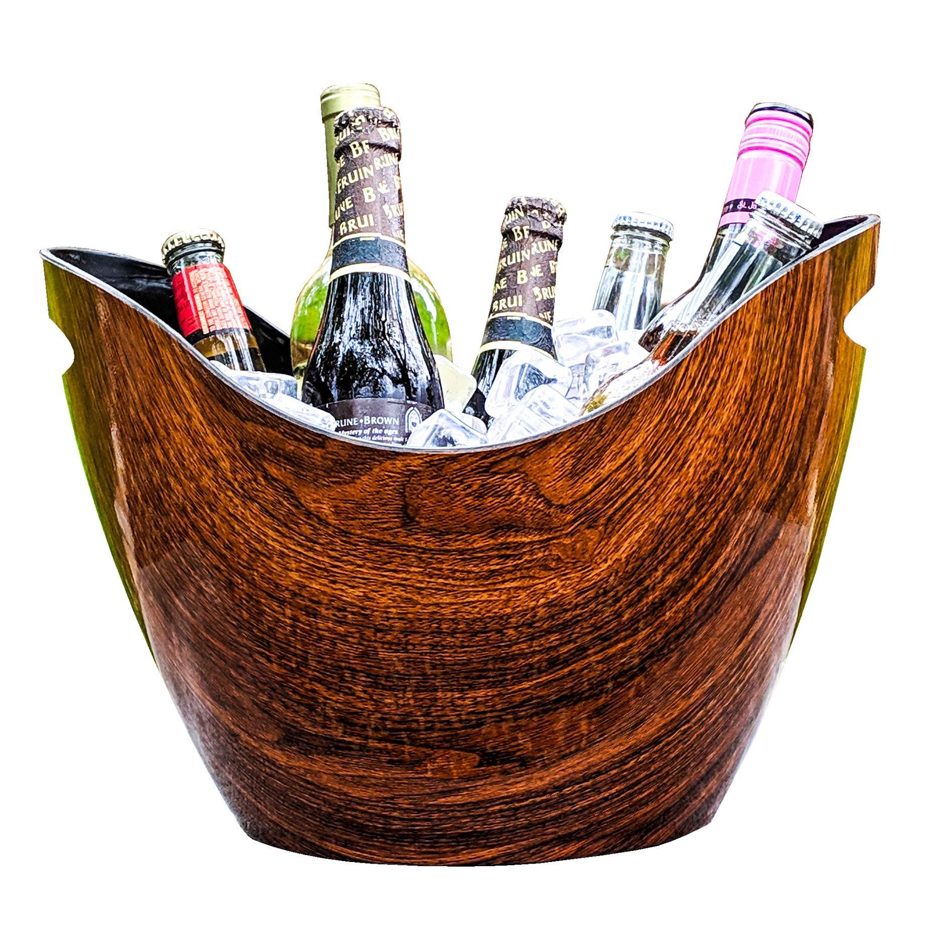 BREKX Vibrant Rich Cherry-Oak Wood Curved Beverage Tub & Premium Wine Chiller - 8 Quarts by BREKX