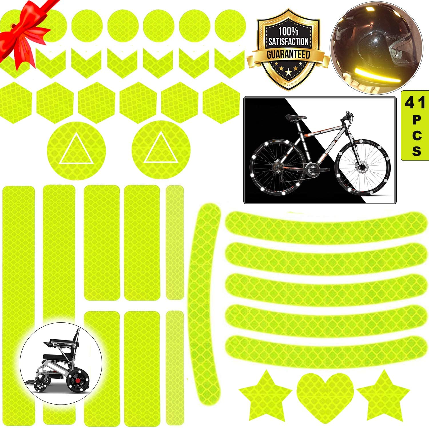 yellow reflective stickers for bikes,reflective decals,reflective stickers for cycling and helmets,reflective stickers set