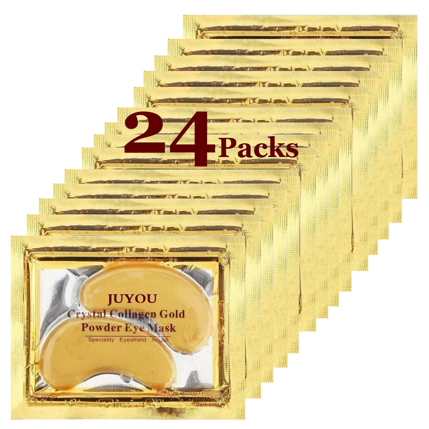 Under Eye Patches, Eye Mask, Gold Under Eye Mask, Gold Eye Mask, Eye Pads, Collagen Eye Patch, JUYOU Eye Patch For Anti-wrinkles, Puffy Eyes, Dark Circles, Fine Lines Treatment (24Pairs 24k Gold)