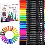 Fabric Marker, Emooqi 24 Colors Textile Marker , No Bleed Fabric Pen Permanent and Washable T-Shirt Marker,Ideal for Decorate