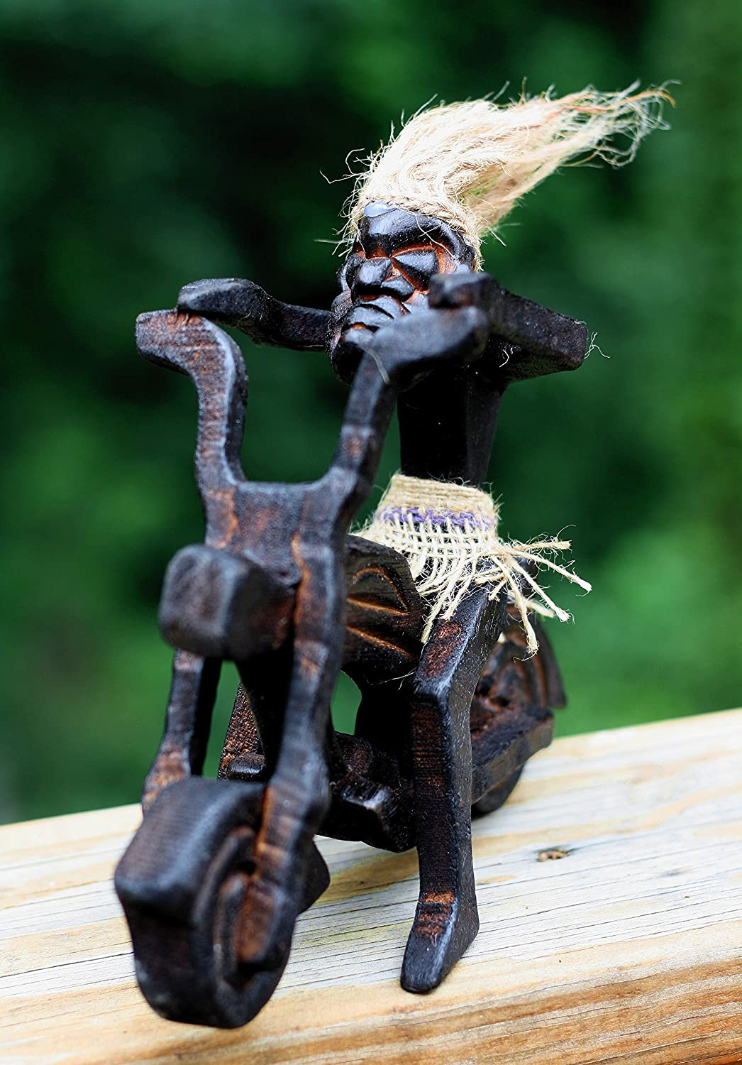 G6 Collection Handmade Wooden Single Primitive Tribal Funny Statue Riding Harley Davidson Motorcycle Sculpture Tiki Bar Unique Gift Decorative Home Decor Figurine Decoration Hand Carved Single Harley