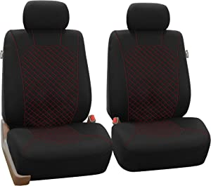 FH Group FB066102 Ornate Diamond Stitching Car Seat Covers Red/Black Color- Fit Most Car, Truck, SUV, or Van