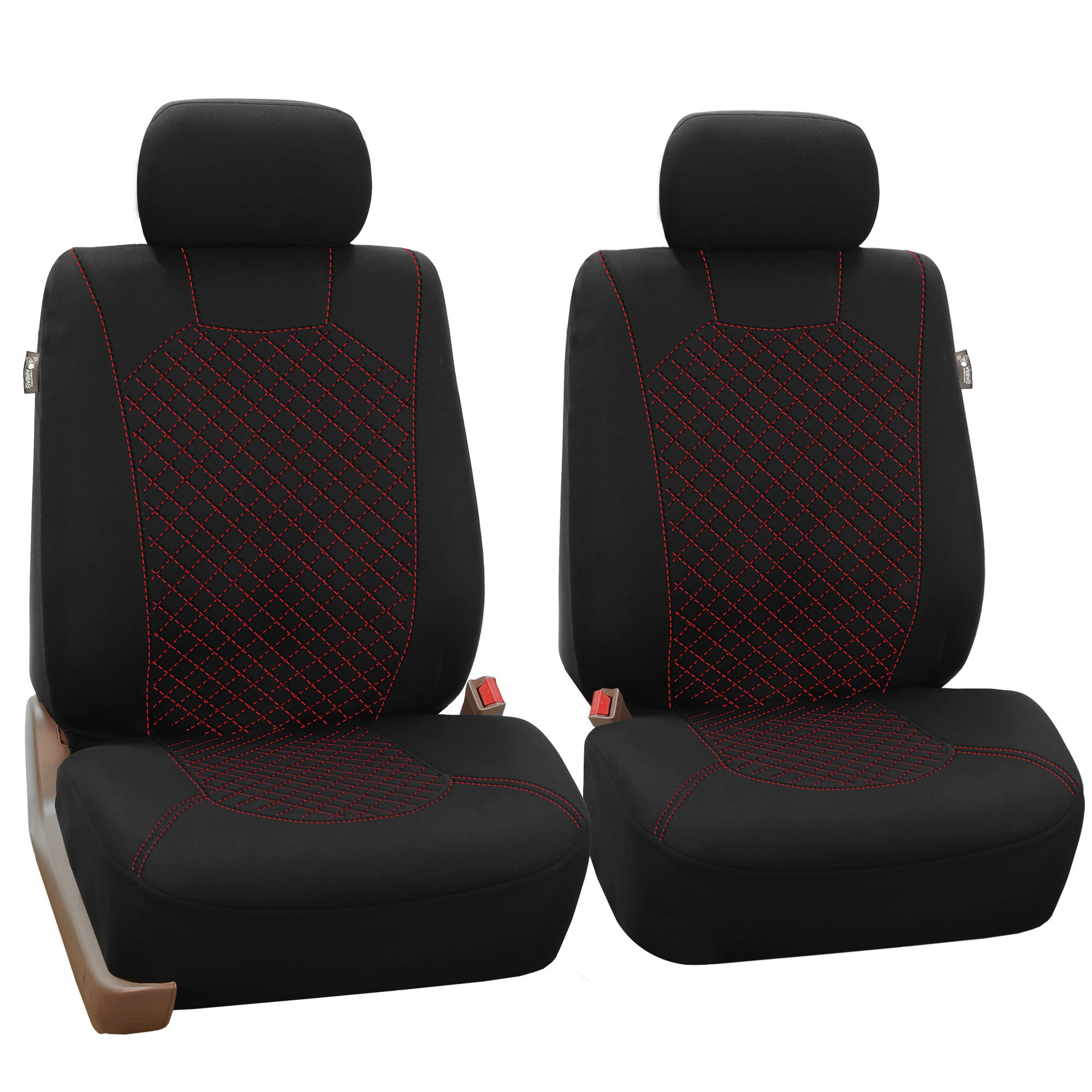 FH Group FB066102 Ornate Diamond Stitching Car Seat Covers Red/Black Color- Fit Most Car, Truck, SUV, or Van by FH Group