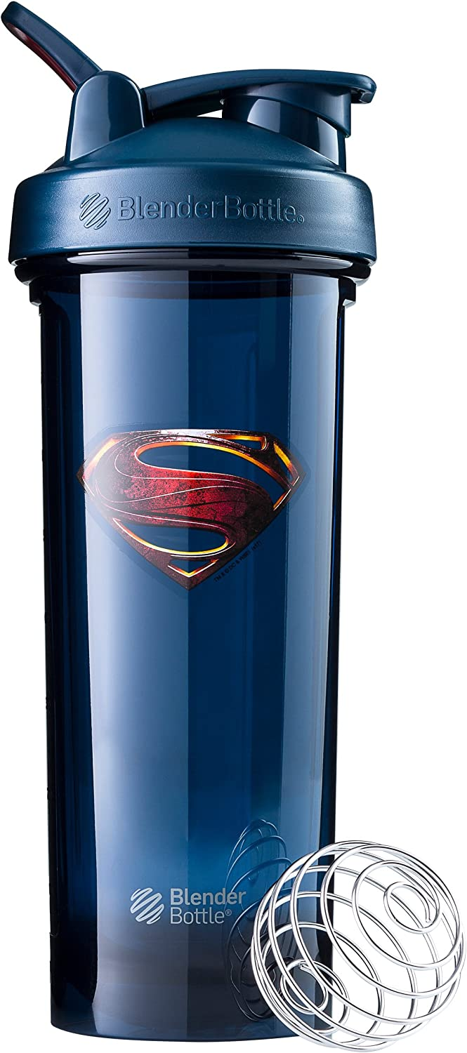 BlenderBottle Justice League Pro Series Shaker Bottle, Superman 32-Ounce