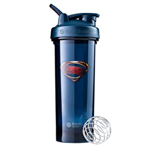 BlenderBottle Justice League Superhero Pro Series 32-Ounce Shaker Bottle, Superman