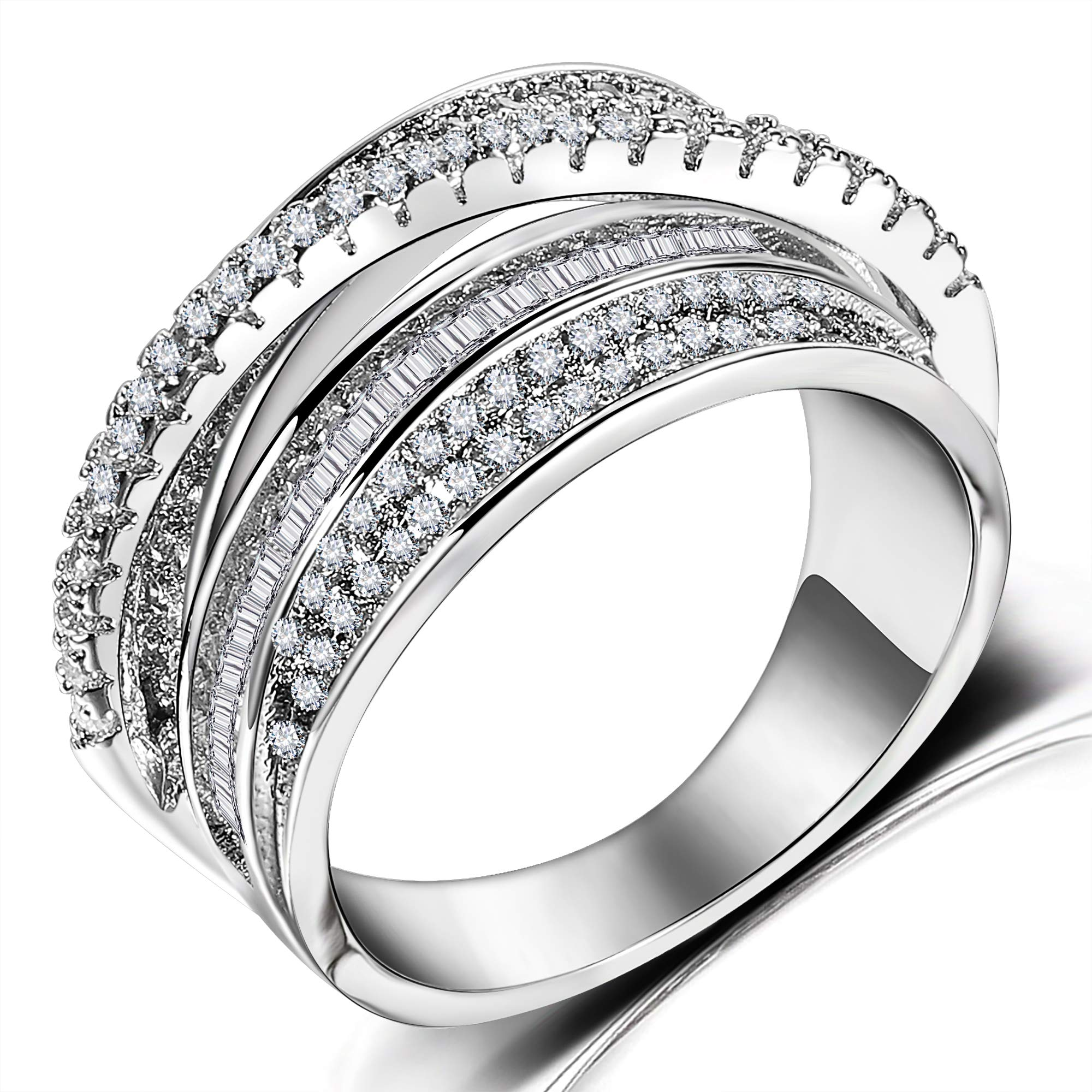 Rhodium Plated Crossover Statement Ring - Intertwined Criss Cross Cubic Zirconia Hollow Wide Band Rings for Women