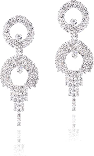 Women Fashion Luxury Crystal Diamante Extra Long Drop Rhinestone Bridal Earrings