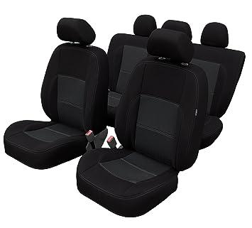 Auto Sitzbezug Sitzbezüge Schonbezüge für PKW ohne Seitenairbag Schwarz 7204