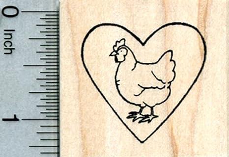 Chicken Hen in Heart Rubber Stamp