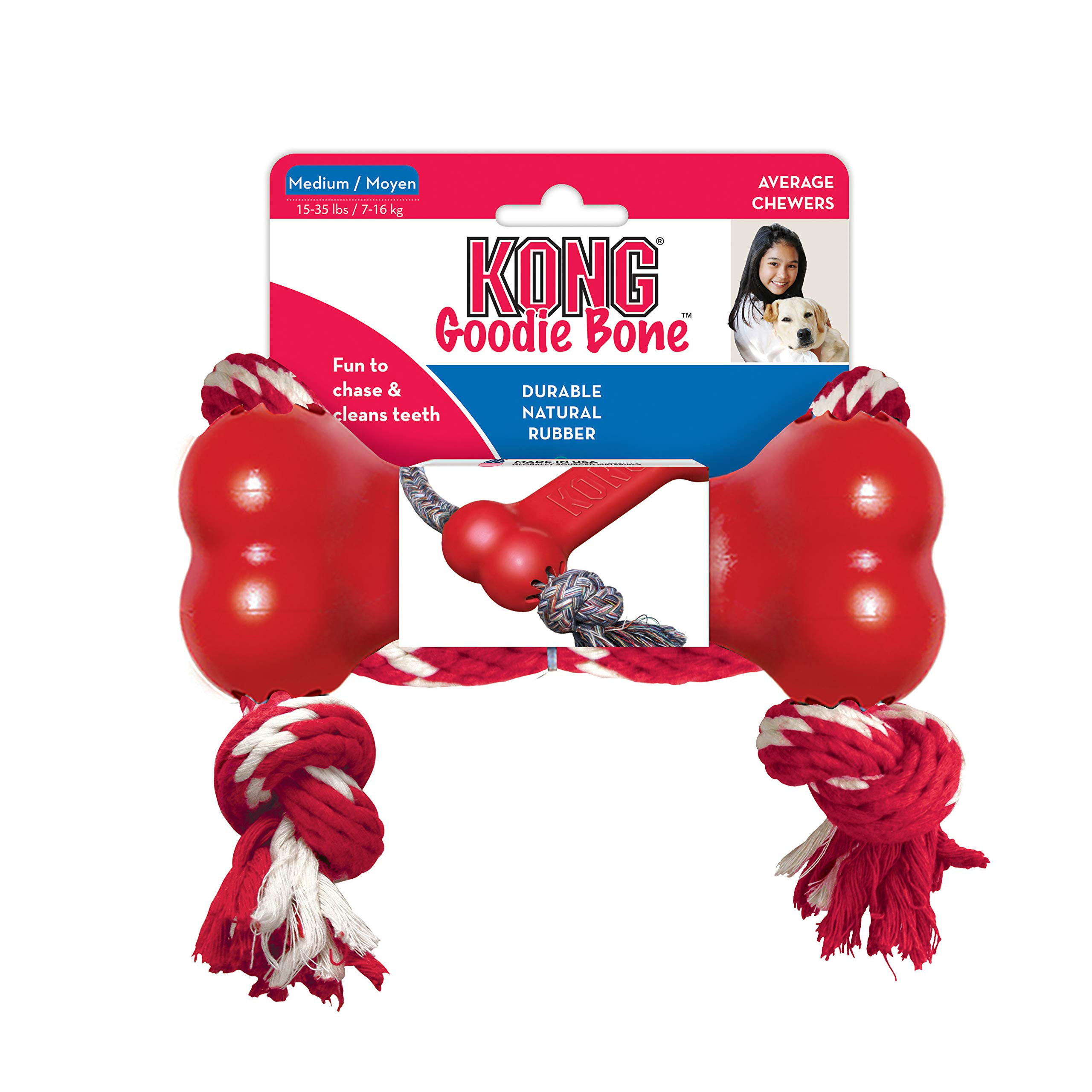 KONG Goodie Bone with Rope, Medium