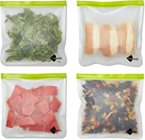 Reusable Food Storage Bags -Set of 4-1 Gallon - Xtra Strong PEVA Material - Clear Bag & Lime Green Ziplock - BPA Free - Kitchen Organization - Snack/Sandwich Bags - Leakproof - Freezer Safe - Travel