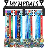 BORNTOWIN My Medals Holder Display Hanger Rack Frame,Black Sturdy Steel Metal,Easy to Install Wall Mounted Over 50…