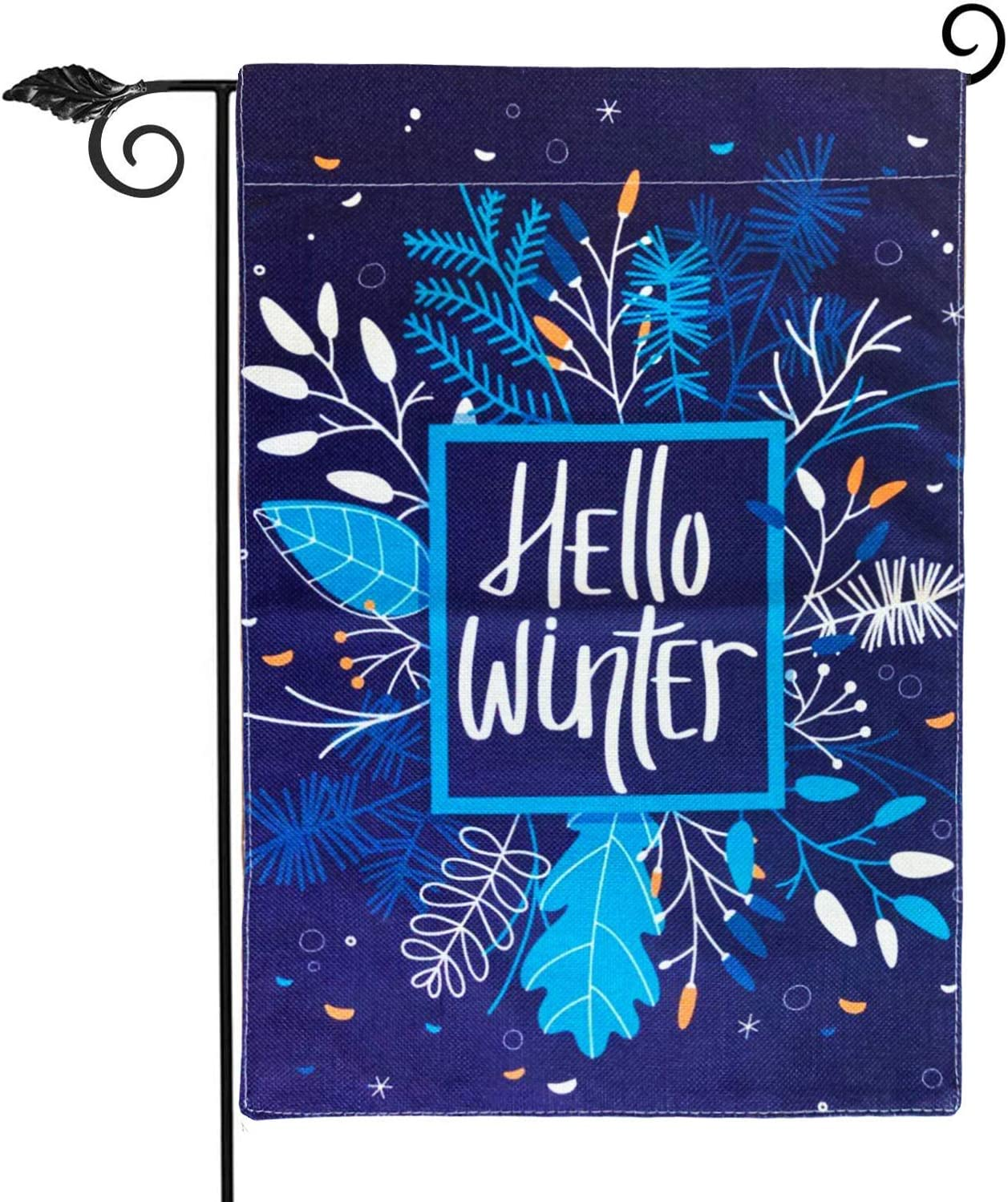 Hello Winter Garden Flag Vertical Double Sided 12.5 x 18 Inch Farmhouse Christmas Winter Holiday Burlap Yard Outdoor Decor,Winter Christmas Welcome Sign