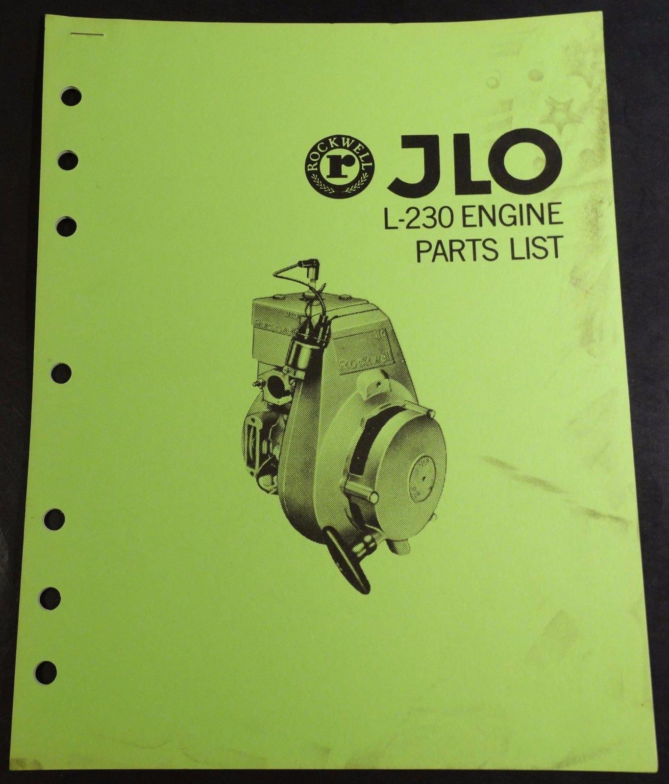 VINTAGE RUPP SNOWMOBILE JLO L-230 ENGINE PARTS LIST MANUAL (804