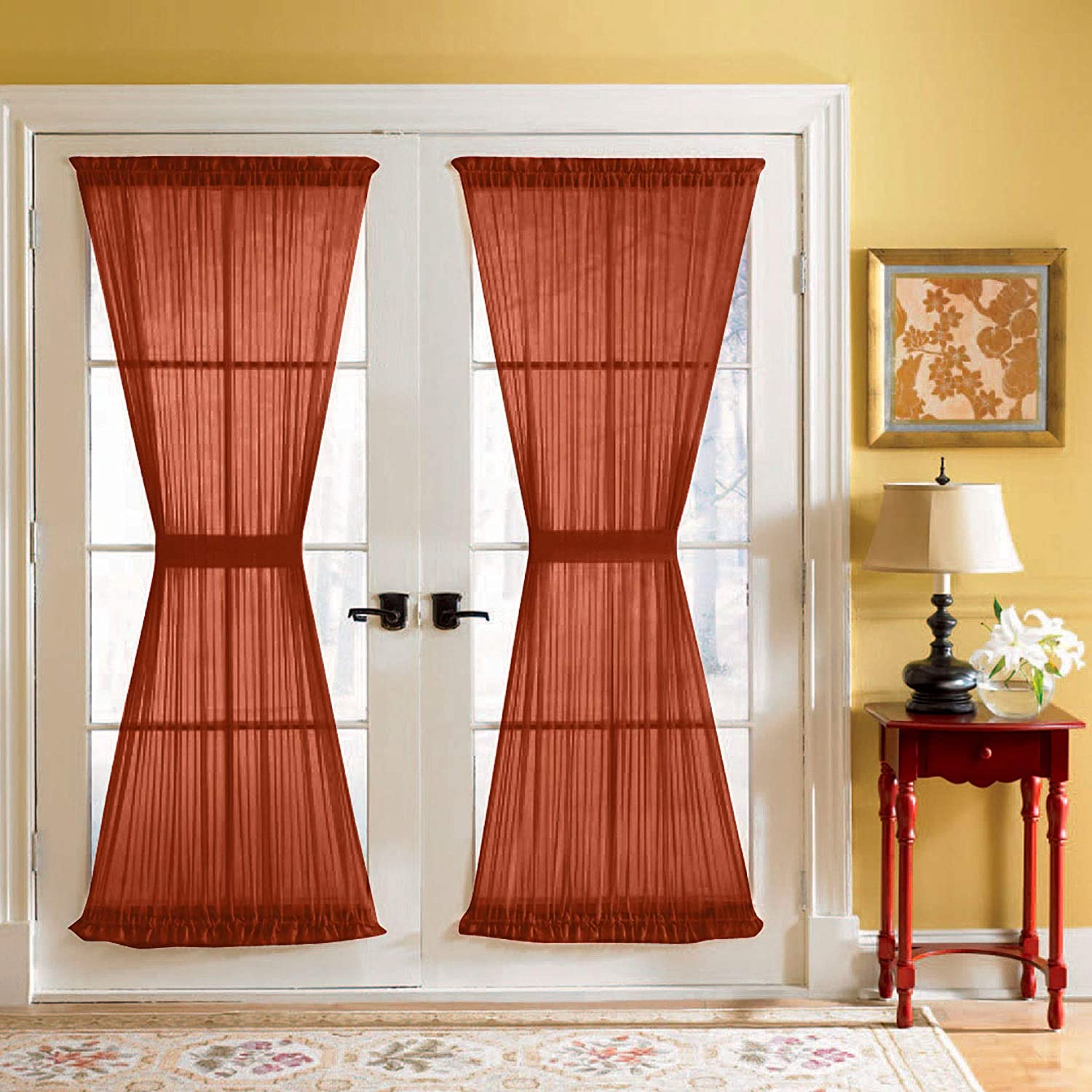 Amazon Com Brylanehome Sheer Voile Door Panel With Tiebacks 60i W 40i L Autumn Leaves Home Kitchen