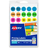 Avery Etiquetas removíveis pré-impressas para venda de garagem, 0,75 polegadas, redondas, pacote com 350 (5480), neon sortido