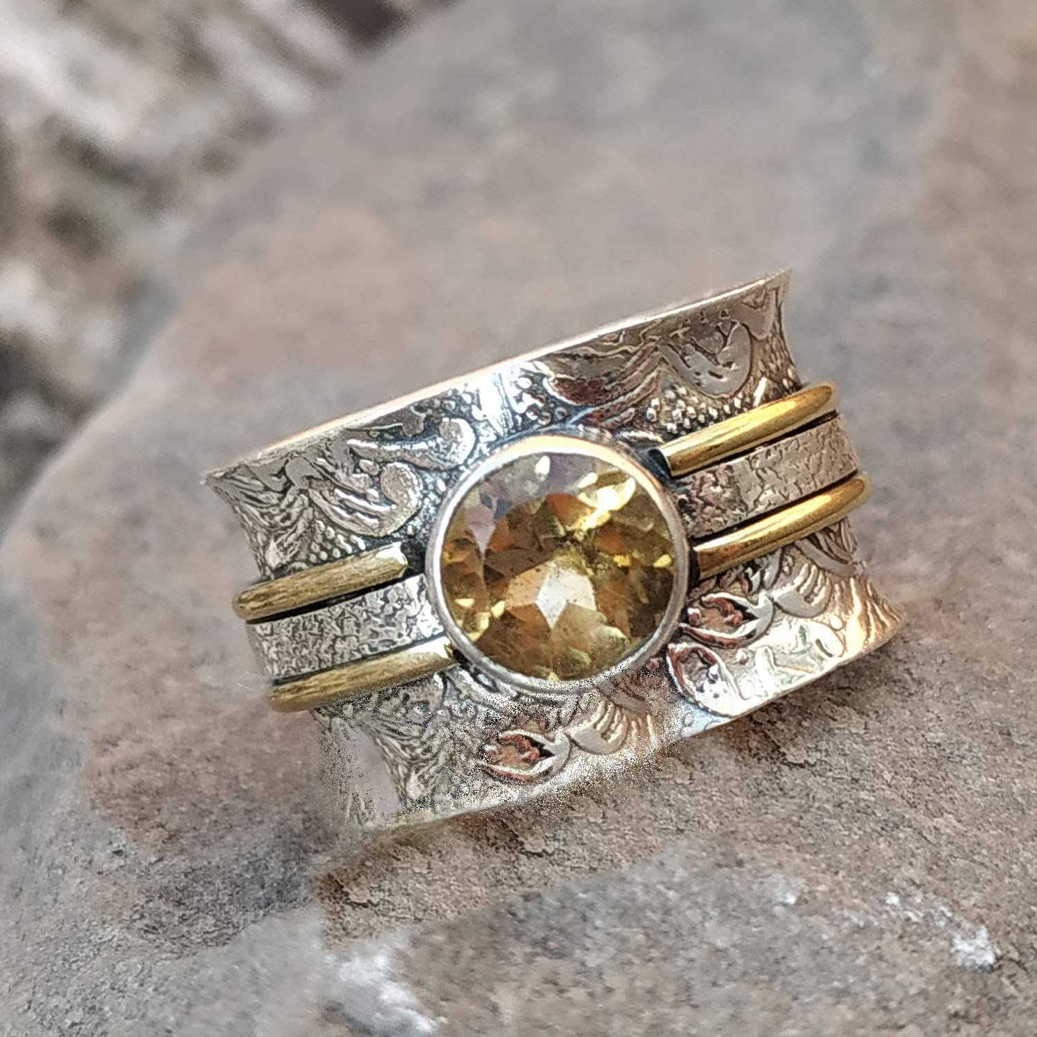 Handmade Ring Meditation Ring for Mothers Day Worry Ring Women Ring Rainbow Moonstone 925 Silver Ring