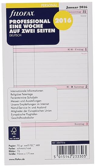 Filofax 6847516 - Recambio de agenda (76 hojas, 1 semana en ...