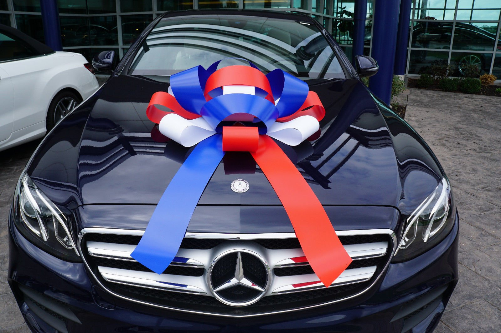Eight24hours Big Car Bow Magnetic Back Vinyl No Scratch Large Gift Bow - Red White Blue