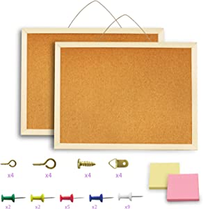 2 Pack Cork Board Bulletin Board – 16 x 13inch Cork Wood Bulletin Boards for Home Kitchen, Bedroom and Office with Decorative Hanging Pins Frame Linen Wall Bulletin Board