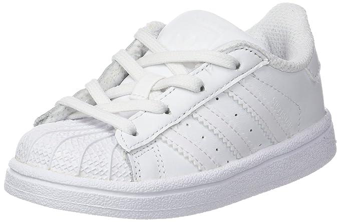 adidas Superstar Sneakers Unisex Baby weiß mit weißen Streifen