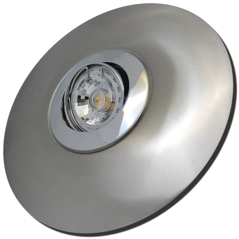 5 Stück MCOB LED Einbaustrahler Big Fabian 230 Volt 3 Watt Schwenkbar Chrom + Edelstahl geb.   Warmweiß
