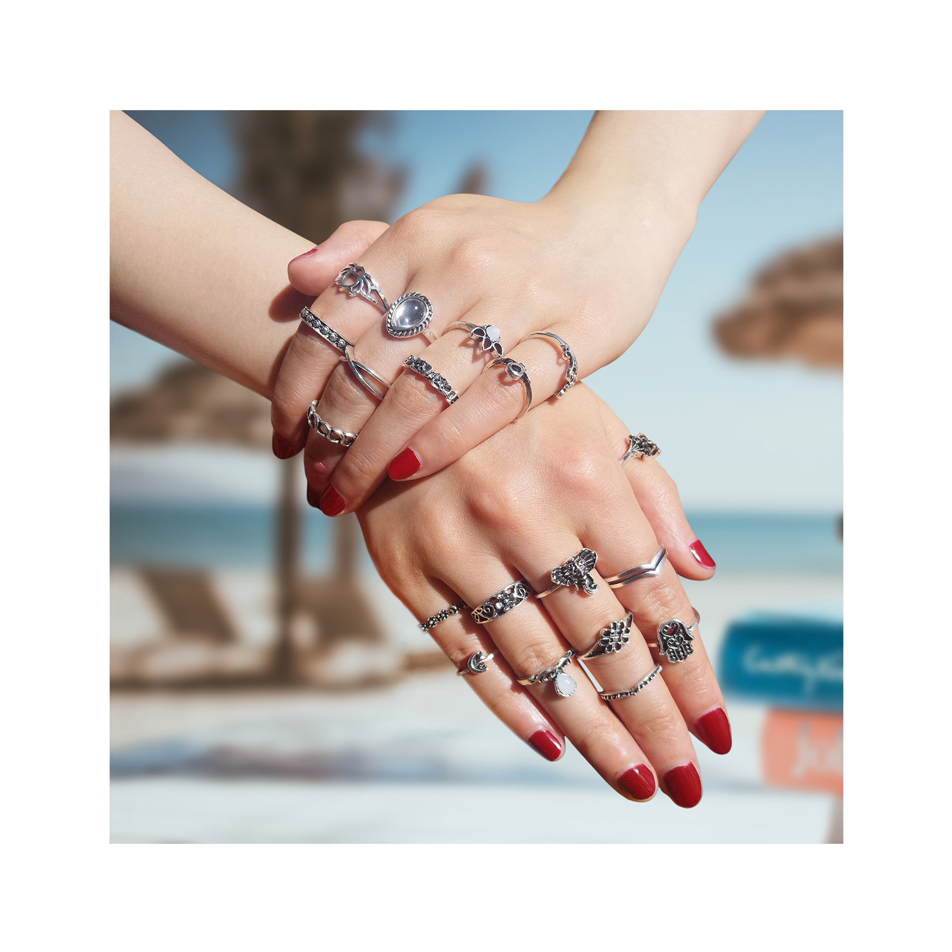 ZEALMER Boho Rings Silver Elephant Fatima Lotus Crown Rhinestone Joint Knuckle Nail Midi Ring Set For Women