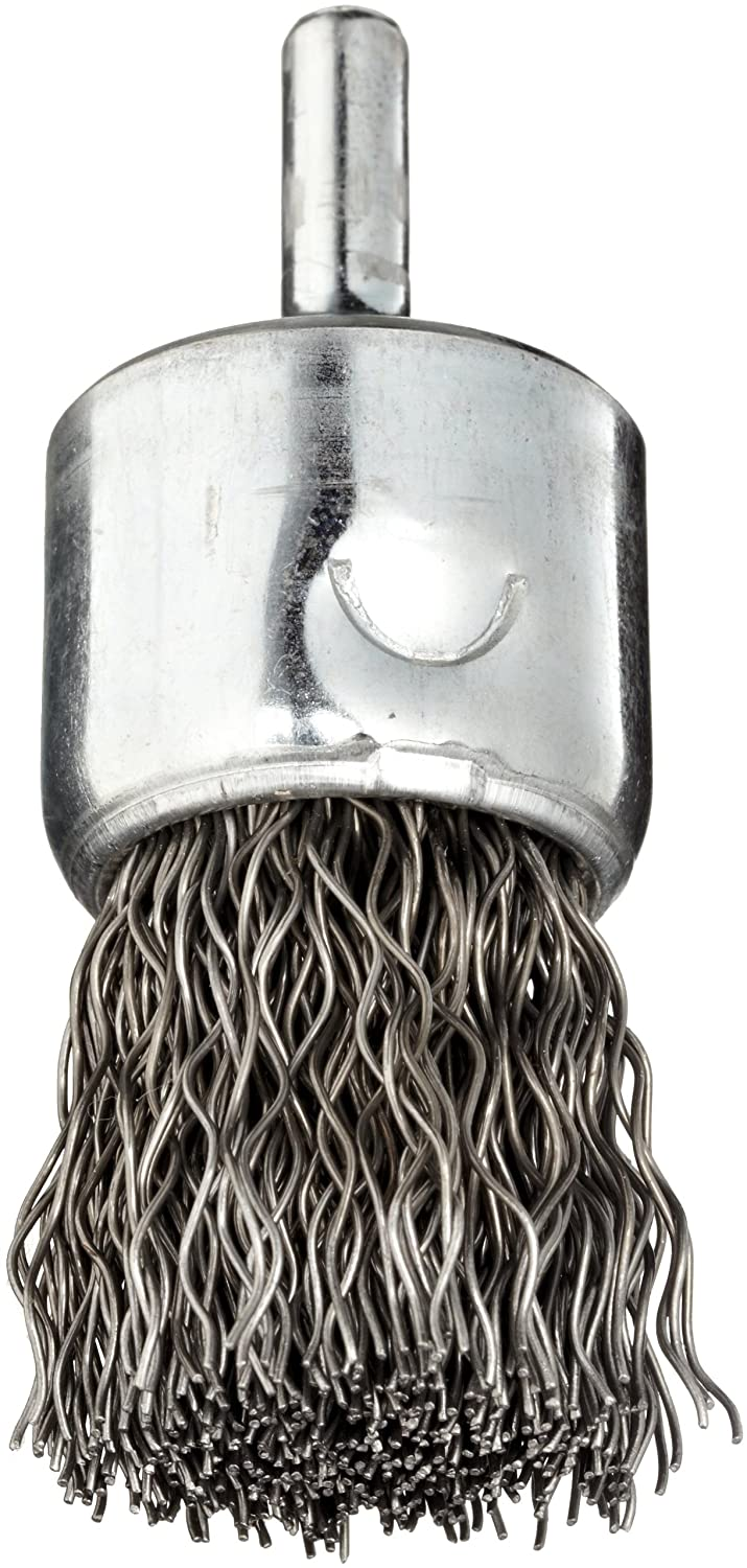 Weiler Wire End Brush, Solid End, Round Shank, Steel, Crimped Wire, 1' Diameter, 0.02' Wire Diameter, 1/4' Shank, 22000 rpm (Pack of 1)