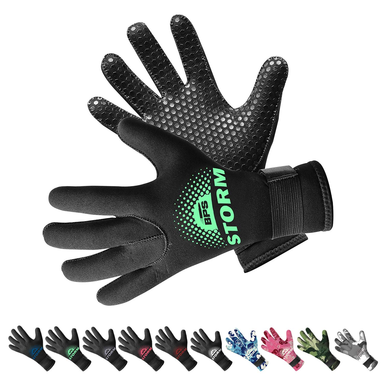 BPS 3mm Neoprene Thermal Gloves with Anti-Slip Palm - Full Hand Gloves for Sailing, Spearfishing, Paddleboarding, Surf, and Other Water Activities - for Men and Women (Black/Mint Green, XL) by BPS