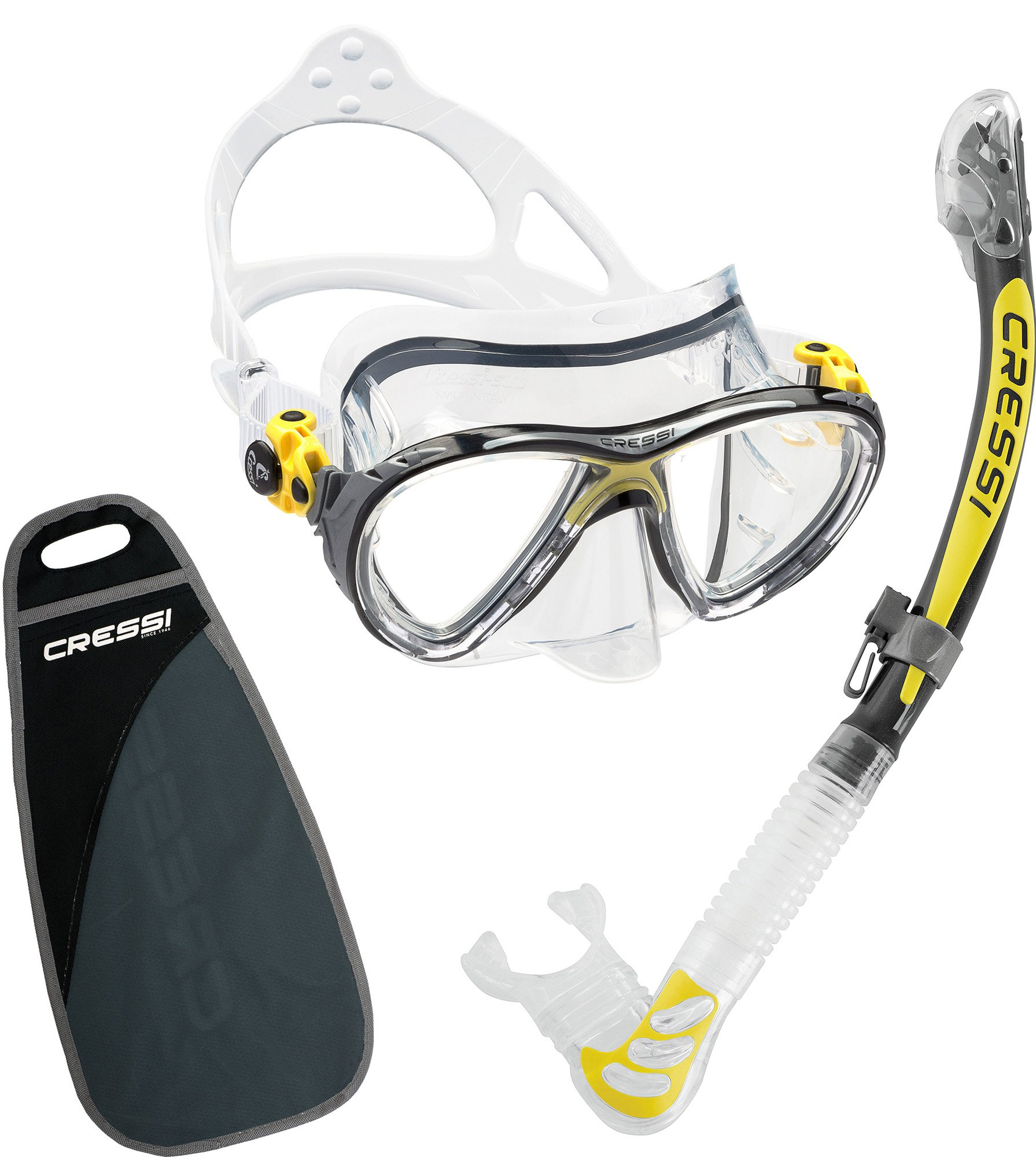 Cressi Big Eyes Evolution & Alpha Ultra Dry, clear/yellow
